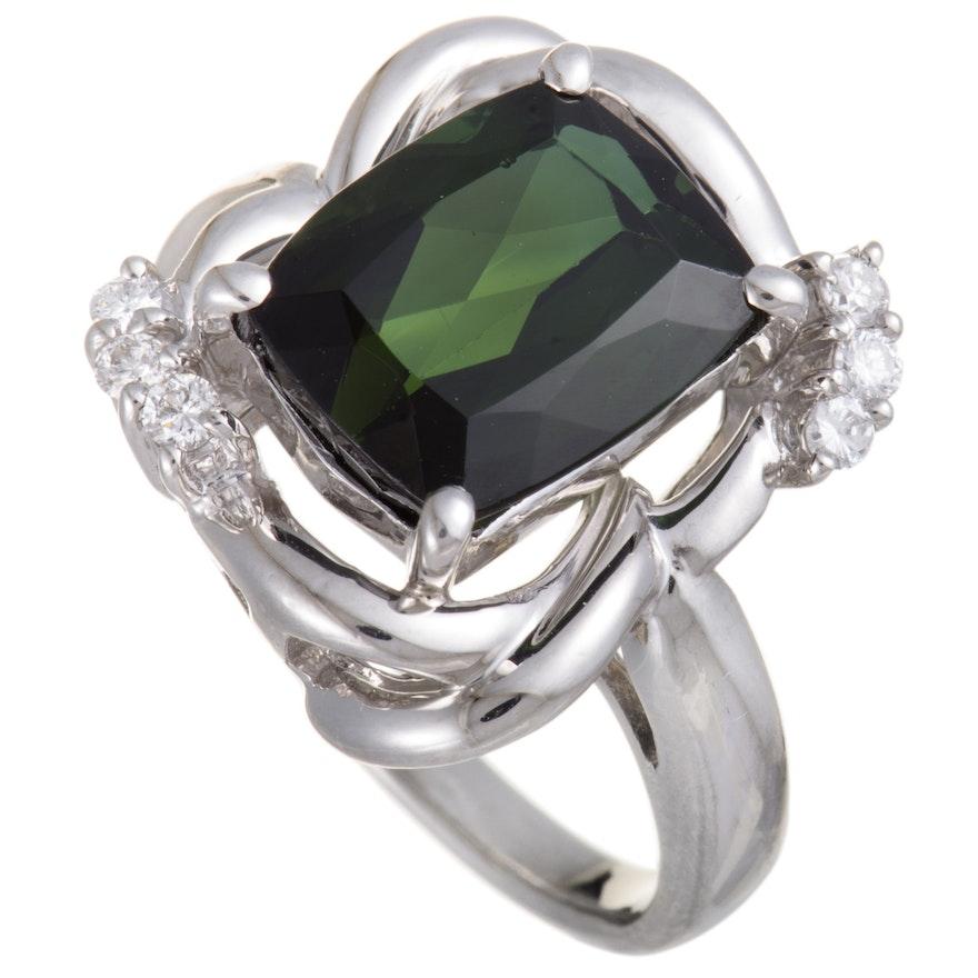 Platinum Diamond and 4.73 CT Green Tourmaline Ring