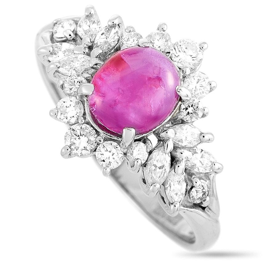 Platinum Diamond and 1.47 CT Ruby Ring