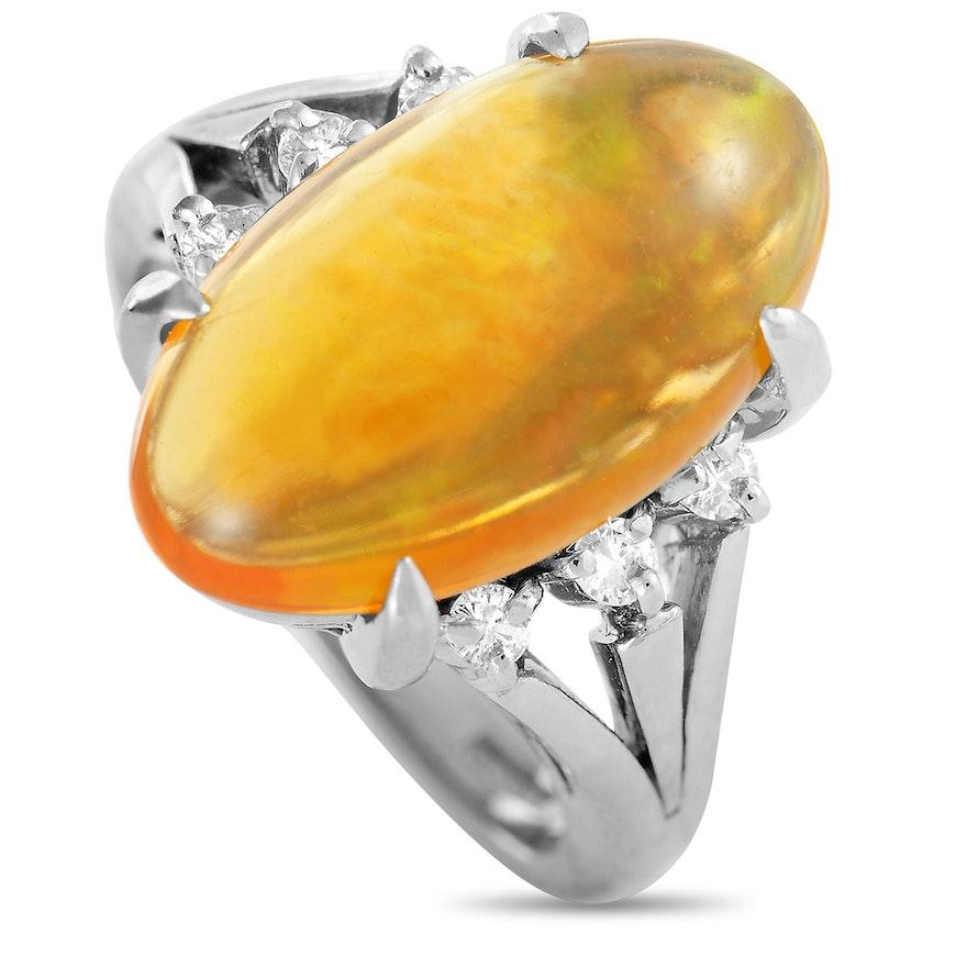 Platinum Diamond and 4.73 CT Opal Ring