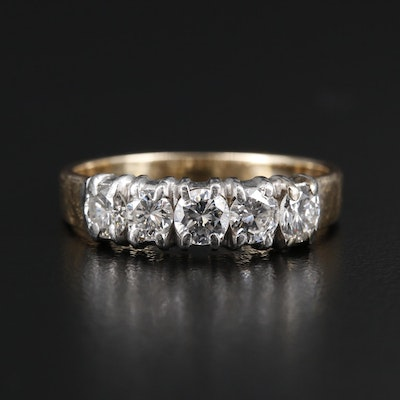 14K Gold Diamond Ring with Platinum Top