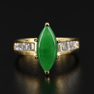 18K Gold Jadeite and Diamond Ring
