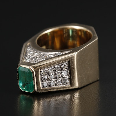 14K Gold 1.50 CT Emerald and 1.03 CTW Diamond Ring