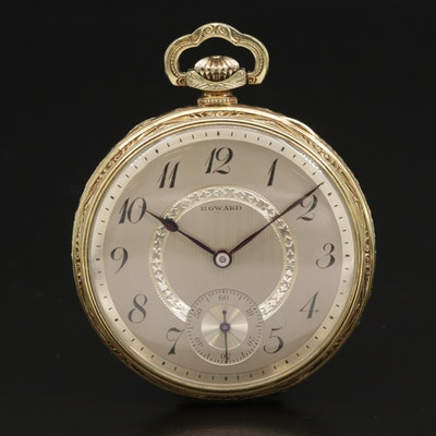 1920 Howard Gold Filled Open Face Pocket Watch, Antique