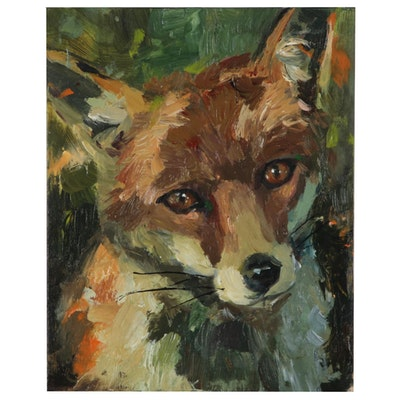 """Adam Deda Oil Painting """"Fox"""" 2019"""