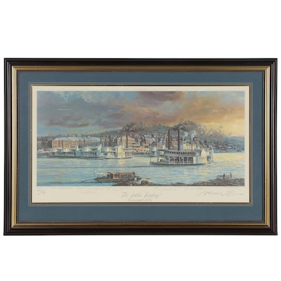 "Michael Blaser Offset Lithograph ""The Public Landing: Cincinnati, 1850"""