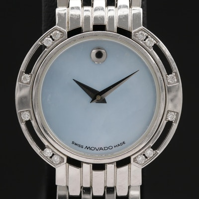Movado Esperanza Stainless Steel and Diamond Quartz Wristwatch
