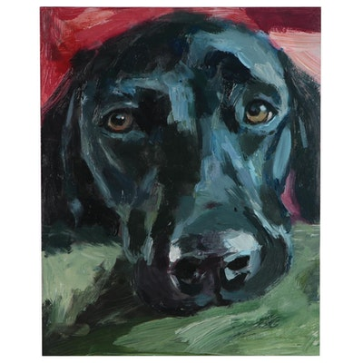 "Adam Deda Oil Painting ""Black Labrador"", 2019"