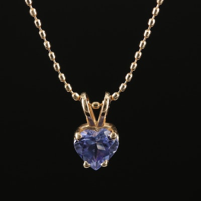 14K Yellow Gold Tanzanite Heart Pendant on Beaded Chain