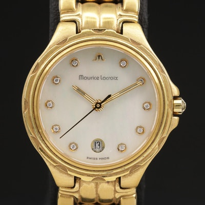 Maurice Lacroix Gold Tone Quartz Wristwatch With Mother of Pearl Dial