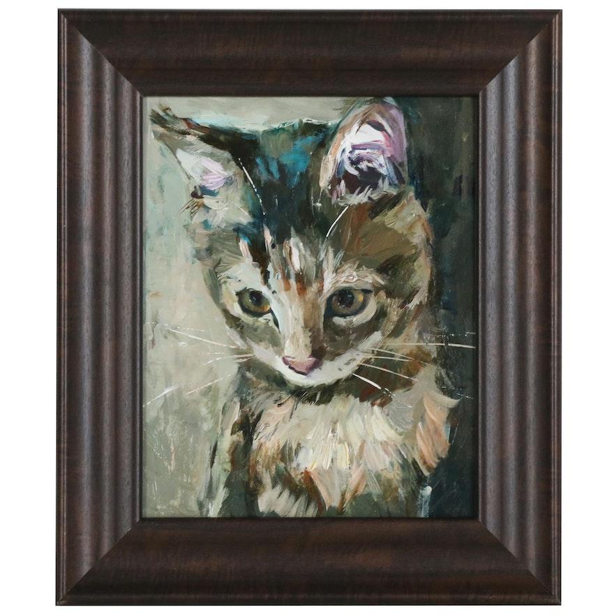 "Adam Deda Oil Painting ""Tabby Cat"", 2019"