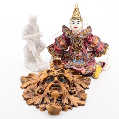 Burmese Ceramic Marionette with Veronese Design Pan Figurine, and More