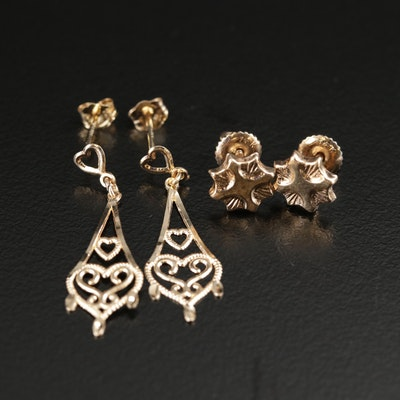 14K Yellow Gold Stud and Heart Drop Earrings