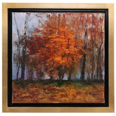 Garncarek Aleksander Autumnal Landscape Oil Painting