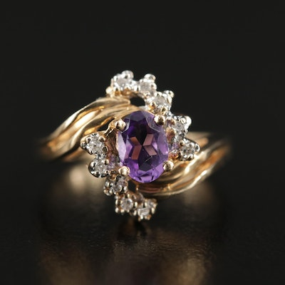 14K Yellow Gold Amethyst and Diamond Bypass Ring