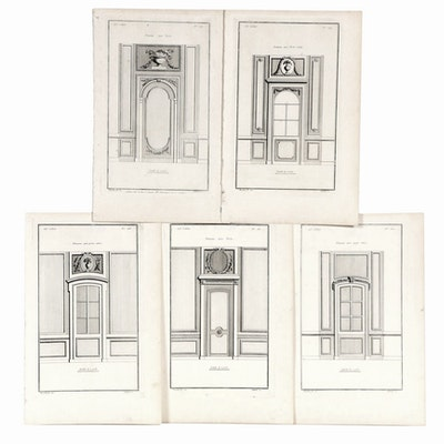 Jean-François de Neufforge French Architectural Engravings, Set of Five