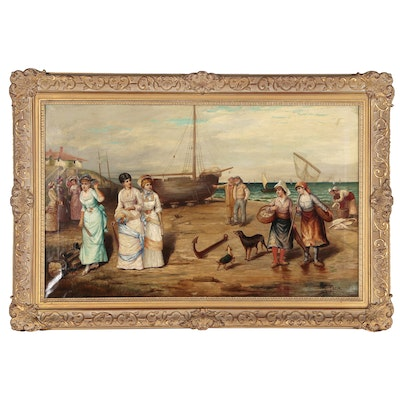 Monumental Seaside Genre Scene Oil Painting
