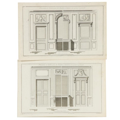 Jean-François de Neufforge French Architectural Engravings, Set of Two