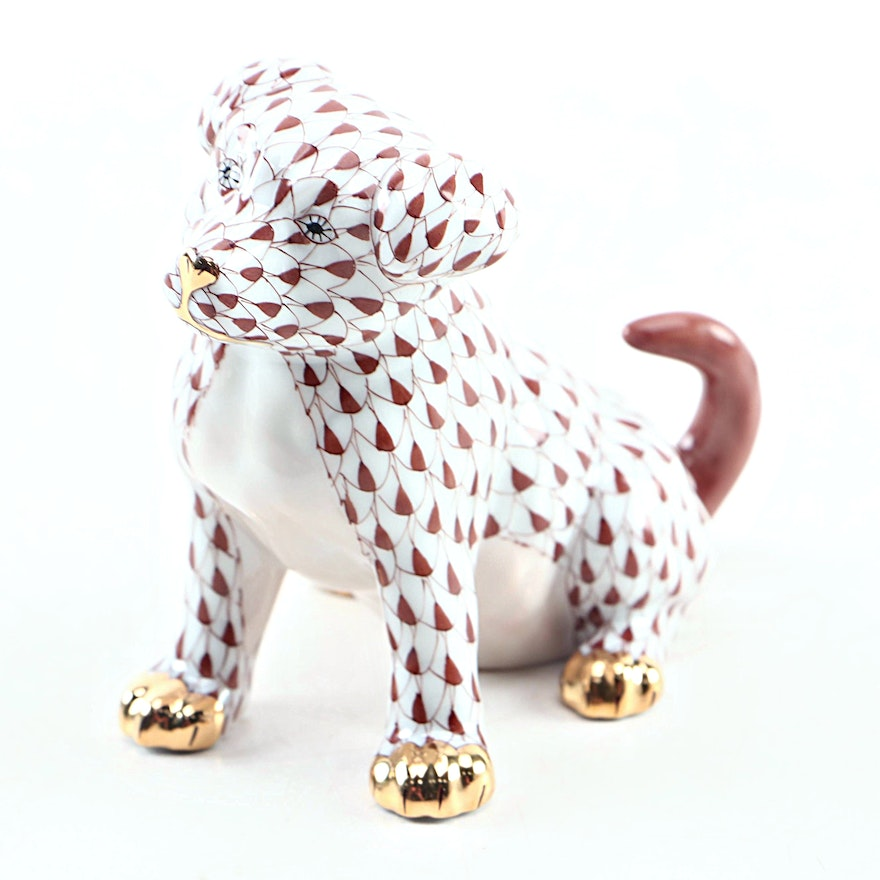 "Herend Chocolate Fishnet with Gold ""Puppy"" Porcelain Figurine"