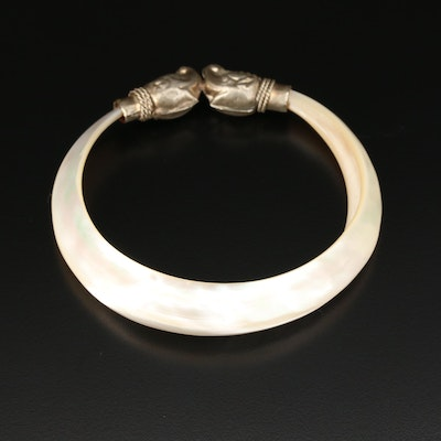 Double Elephant Head Mother of Pearl Bangle