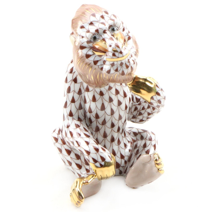 "Herend Chocolate Fishnet with Gold ""Mandrill"" Porcelain Figurine"