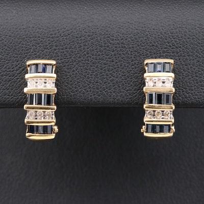 14K Yellow Gold Diamond and Sapphire J Hoop Earrings