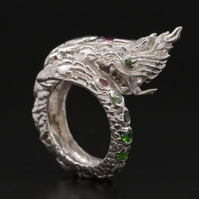 Sterling Thai Style Dragon Ring with Rhodolite Garnet, Tourmaline and Diopside
