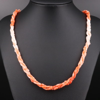 Coral Beaded Triple Strand Necklace
