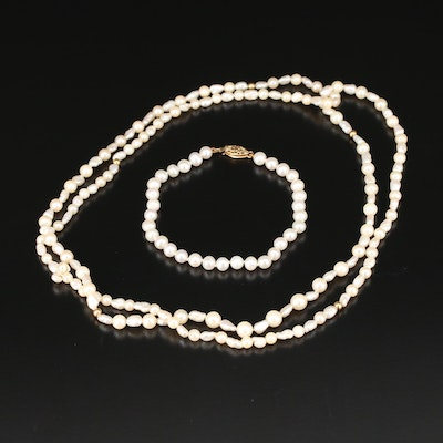 14K Pearl Continuous Necklace and Bracelet