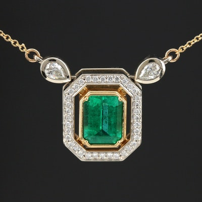 14K and 18K Gold 1.95 CT Emerald and Diamond Pendant Necklace