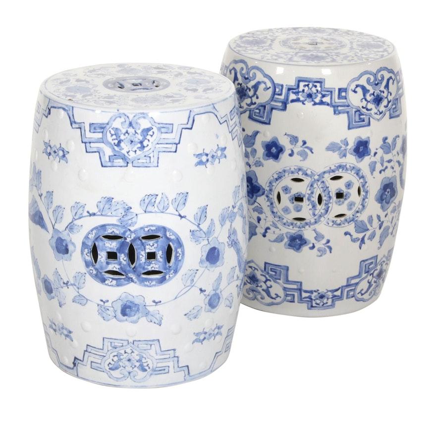 Chinese Blue and White Phoenix Motif Ceramic Garden Seats