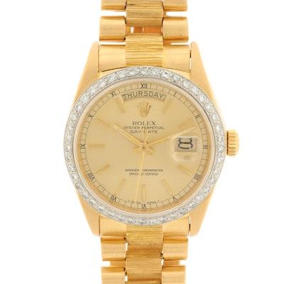 Vintage Rolex Day-Date 18K Yellow Gold Wristwatch with 1.16 CTW Diamond Bezel