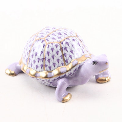 "Herend Lilac Fishnet with Gold ""Turtle"" Porcelain Figurine"