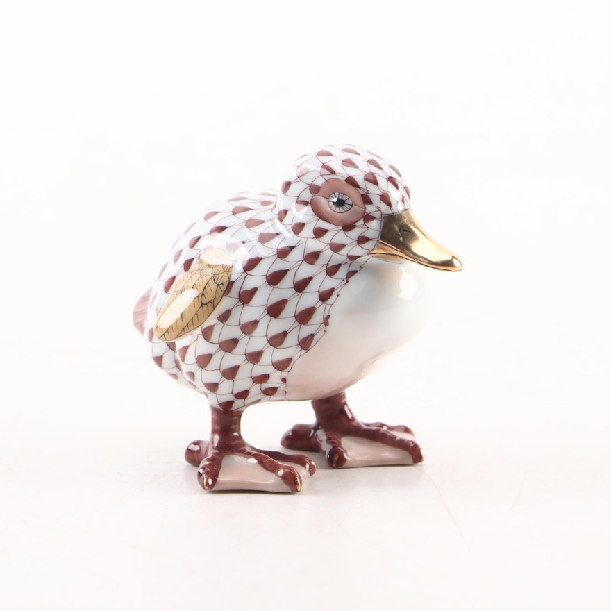 """Herend Chocolate Fishnet with Gold """"Little Duckling"""" Porcelain Figurine"""