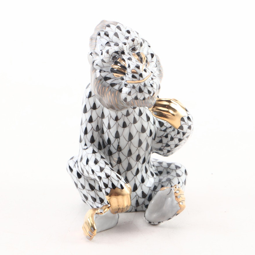 """Herend Black Fishnet with Gold """"Mandrill"""" Porcelain Figurine, March 2002"""