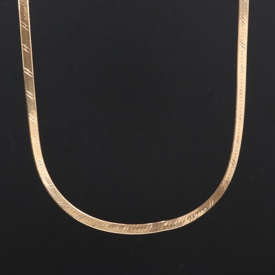 14K Gold Herringbone Chain Necklace