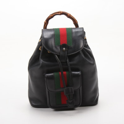 Gucci Bamboo Handle Black Leather Web Stripe Drawstring Backpack