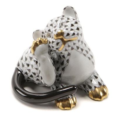 """Herend Black Fishnet with Gold """"Tiger Cub"""" Porcelain Figurine"""