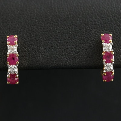 18K Gold Ruby and Diamond J-Hoop Earrings