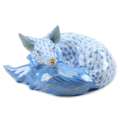 "Herend Blue Fishnet with Gold ""Lying Fox"" Porcelain Figurine"