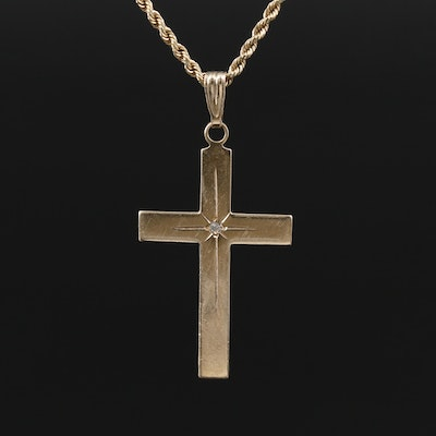 14K Yellow Gold Diamond Cross Pendant on 10K Rope Chain Necklace