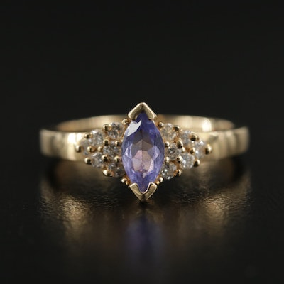 14K Yellow Gold Diamond and Tanzanite Ring