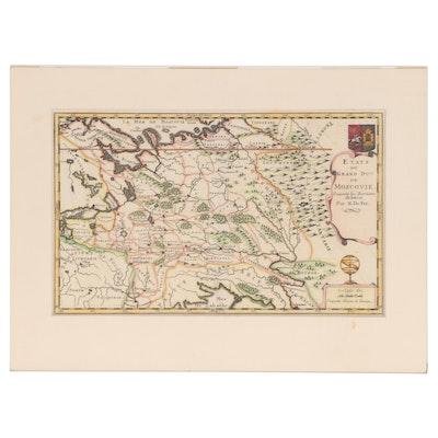 """1702 Map """"Etats du Grand Duc de Moscovie"""", Engraved by Nicolas de Fer"""