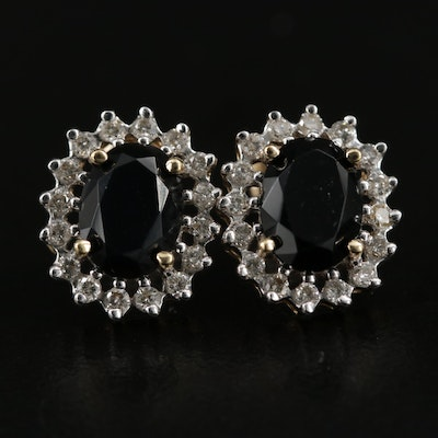 14K Black Onyx and Diamond Drop Earrings