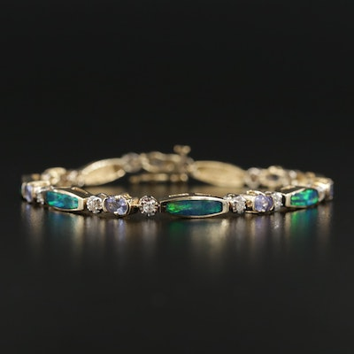 14K Opal Triplet, Tanzanite and Diamond Bracelet