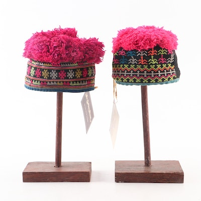 Child's Handcrafted Thai Embroidered Hill Tribe Pom-Pom Hats with Wood Stands