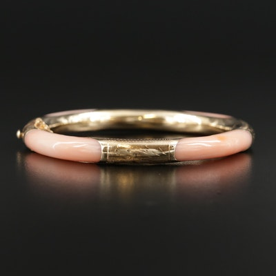 14K Yellow Gold Coral Bangle Bracelet