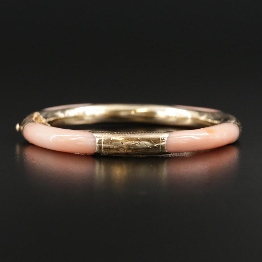 14K Yellow Gold Coral Bangle Bracelet