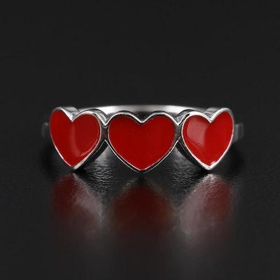 Sterling Silver Enamel Heart Ring