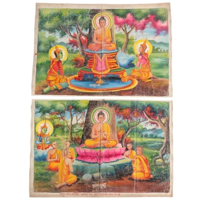 Monumental Cambodian Gouache Paintings of the Life of the Buddha