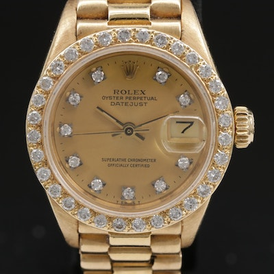 1979 Rolex Datejust 18K Gold and Diamonds Automatic Wristwatch